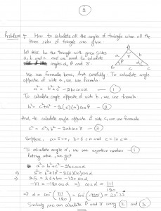 Finding all angles of triangle when all the sides of triangle are given