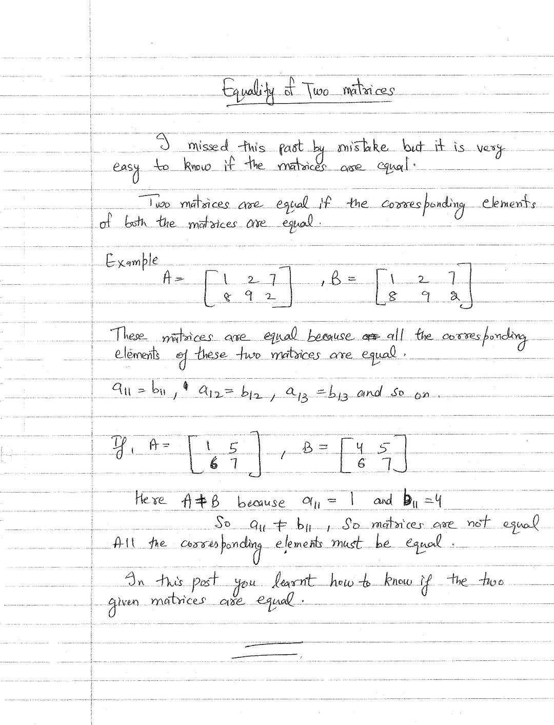 how to know if the two matrices are equal