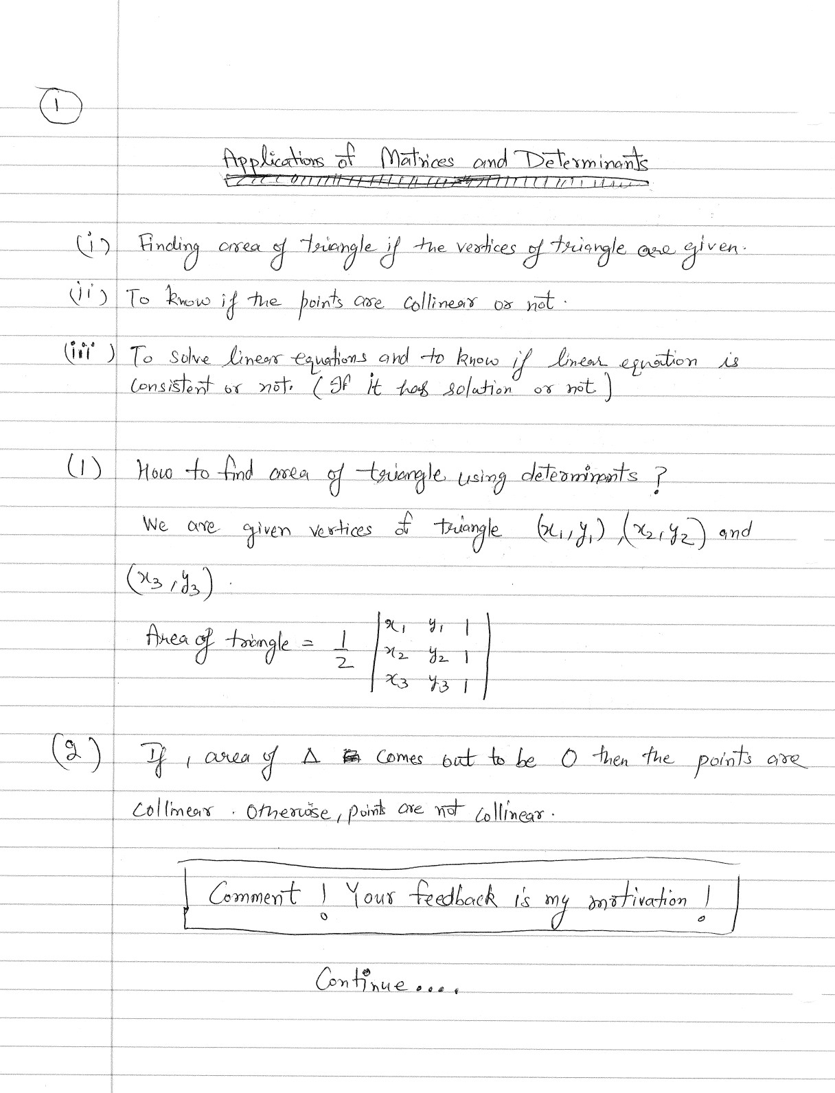 Applications Of Determinants Finding Area Of Triangle