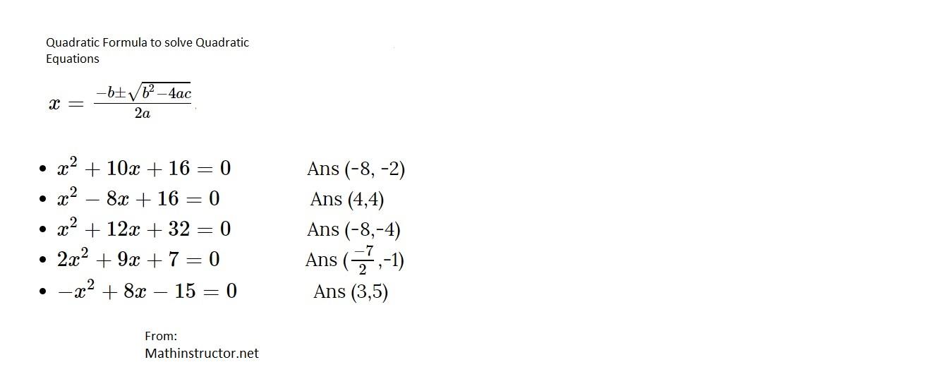 How To Solve Quadratic Equations Using Quadratic Formula Math On